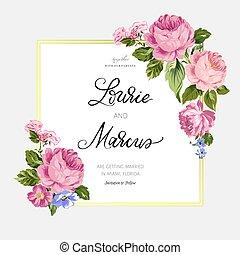 romantisk, bröllop, blommig, vektor, invitation., card.