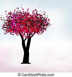 romantisk, eps, träd, passion, mall, 8, card.