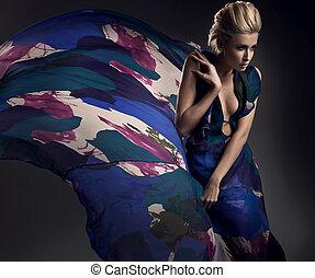 romantisk, foto, av, a, blondin, tröttsam, färgrik, klänning