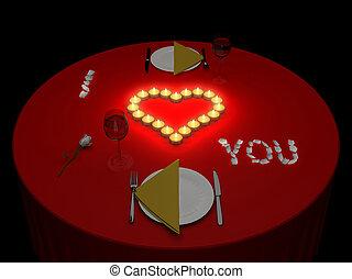 romantisk, kvällsmat