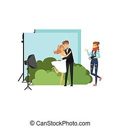 romantisk, pre, bröllop fotografi, filma, in, studio, med,...