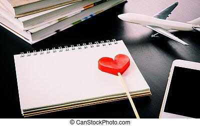 romantisk, smekmånad, semester, planerande, dagbok, på, anteckningsbok