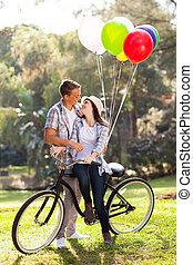 romantisk, tonåring koppla, datering