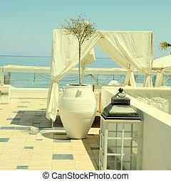 romantisk, uteplats, med, sjögång se, greece.
