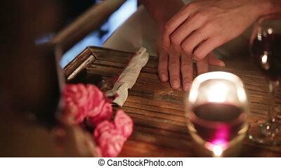 romantyczny obiad, w, niejaki, restauracja