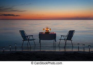 romantyk, świece, obiad, morze, plaża, wino