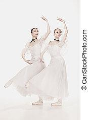 romantyk, beauty., retro tytułują, baleriny