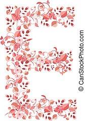 romantyk, kwiatowy, litera e