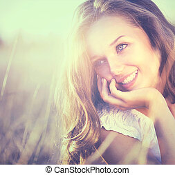 romantyk, piękno, natura, świeży, dziewczyna, outdoors.