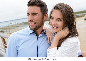 romantyk, plaża, para, młody