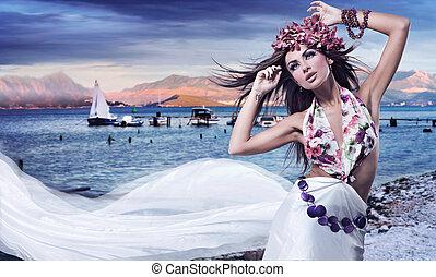 romantyk, styl, fotografia, od, niejaki, piękny, brunetka