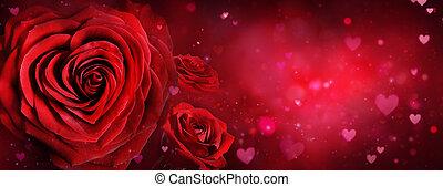 romantyk, -, valentine, róże, tło, serca, karta