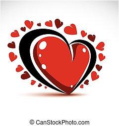 romantyk, wektor, artystyczny, czarowny, serce, isolated., temat, element., elegancki, 3d, miłość, czerwony, dzień, graficzny, valentine, projektować, ilustracja, forma.
