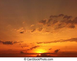 romantyk, zachód słońca
