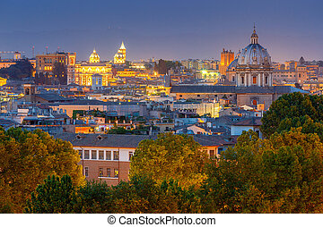 Rome. Aerial view of the city at night.