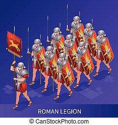 rome, ancien, icônes, illustration, romain, légion, isométrique, fond, isolé