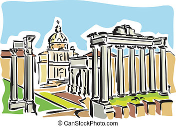 Illustration of the remains of an ancient Roman forum in Rome