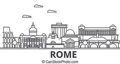 Rome architecture line skyline illustration. Linear vector cityscape with famous landmarks, city sights, design icons. Landscape wtih editable strokes