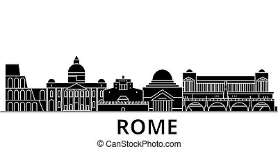 Rome architecture vector city skyline, travel cityscape with landmarks, buildings, isolated sights on background