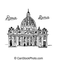 Rome architecture. Vector illustration isolated on white