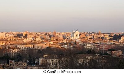 Rome at sunset. The view from the Janiculum Hill (Gianicolo). Italy. Time Lapse