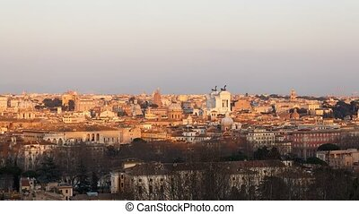 Rome at sunset. View from the Gianicolo Hill. Zoom. Italy. Time Lapse