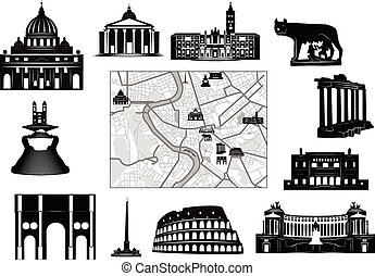 Black-and-white map of Rome with hallmarks as marked on it as separated.
