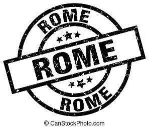 Rome black round grunge stamp
