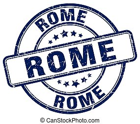 Rome blue grunge round vintage rubber stamp