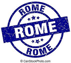 Rome blue round grunge stamp
