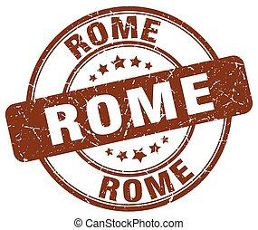 Rome brown grunge round vintage rubber stamp