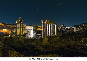 Rome by night - Roman Forum, or Forum Romanum, as seen from...