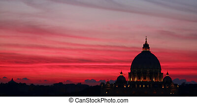 Travel Photography. Silhouette of the Vatican Dome in the sunset, Rome, Italy