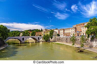 rome, byen, hen, den, flod tiber