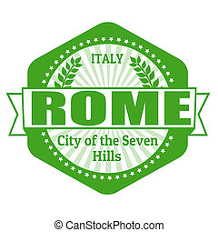 Rome capital of Italy label or stamp