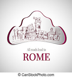 Rome city emblem with colosseum and old town buildings...