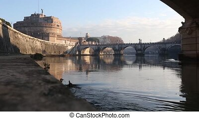 Rome City Morning View, Italy. - The Mausoleum of Hadrian...