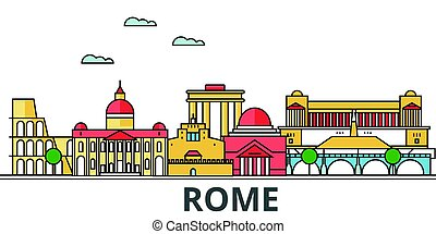 Rome city skyline. Buildings, streets, silhouette, architecture, landscape, panorama, landmarks. Editable strokes. Flat design line vector illustration concept. Isolated icons on white background
