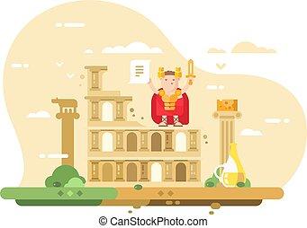 Rome city skyline flat style concept. Top famous landmark...