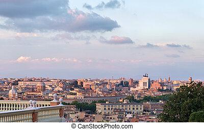 rome, cityscape, à, vue, de, vittoriano, monument