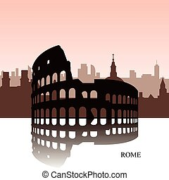 Rome cityscape - Brown cityscape of Rome with text, Vector...