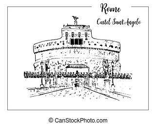 Rome cityscape. Castel Sant'Angelo skyline. architectural symbol. Beautiful hand drawn vector sketch illustration. Italy.
