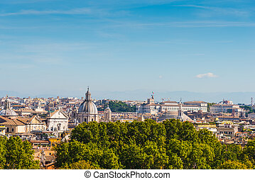 Rome cityscape seen from Promenade of the Janiculum, Italy