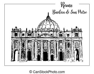Rome cityscape with St. Peter Cathedral. Italian city famous landmark skyline. Travel Italy engraving. Rome architectural city background