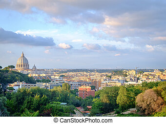 Rome cityscape with view of san peters's cathedral dome