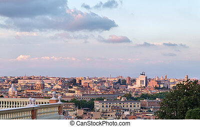 Rome cityscape with view of  vittoriano monument