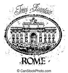 Rome - Vector illustration of famous capital's stamp.