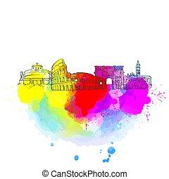 Rome Colorful Landmark Banner