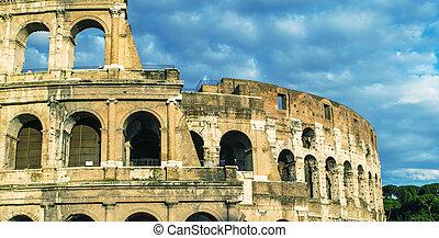 rome., colosseum, 在, 黄昏