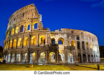 Rome - Colosseum at dusk - Ancient roman colosseum at dusk,...